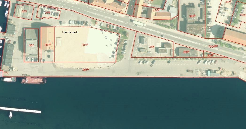 Detail på Vestre Havneplads i Kalundborg - Matrikelkort