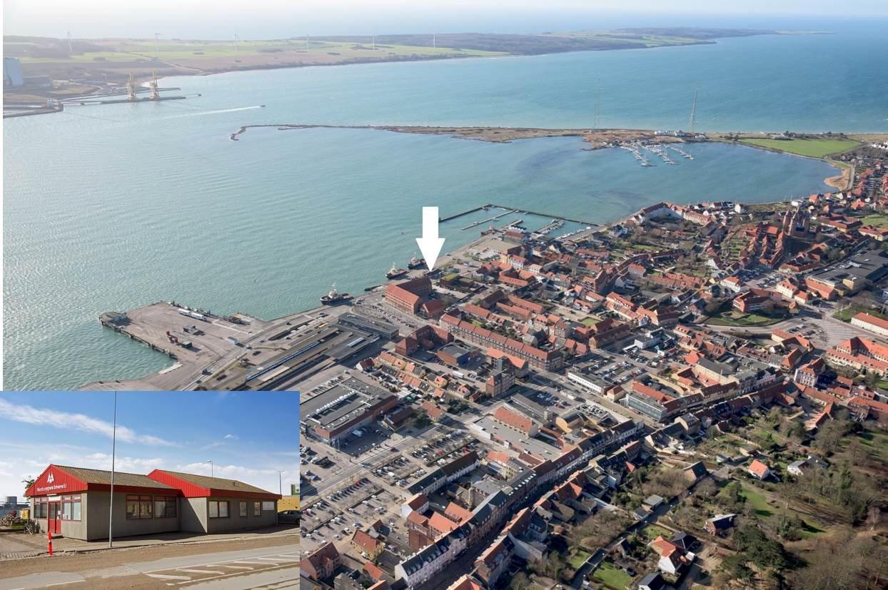Detail på Vestre Havneplads i Kalundborg - Luftfoto