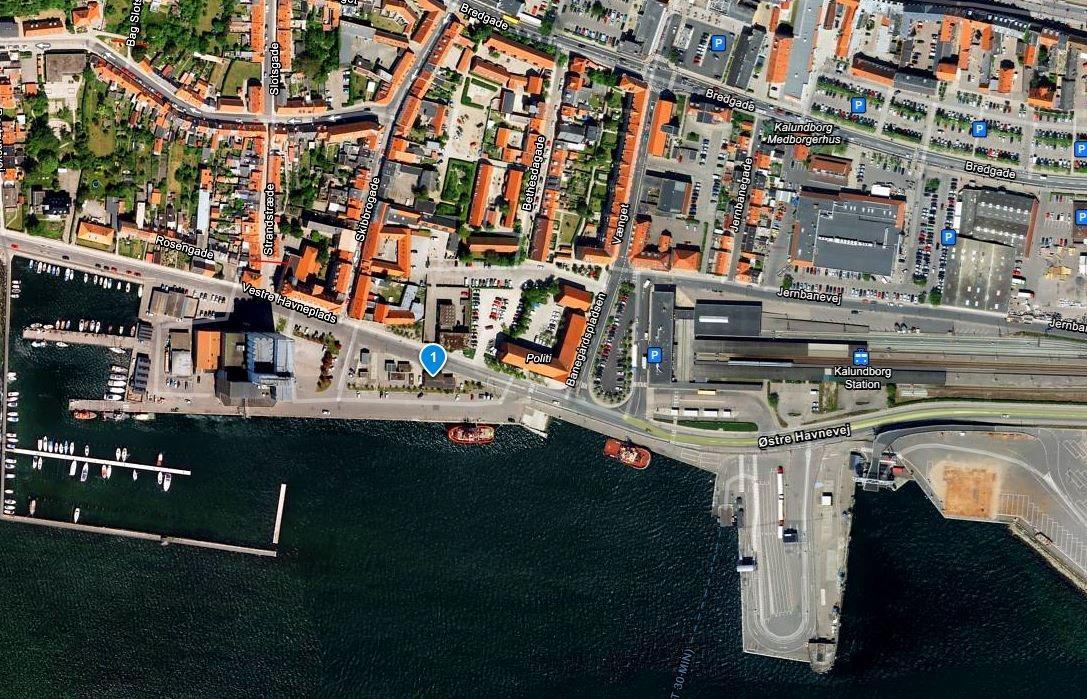 Detail på Vestre Havneplads i Kalundborg - Kort