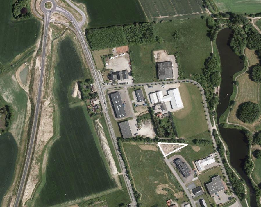 Erhvervsgrund på Bogensevej i Slagelse - Luftfoto