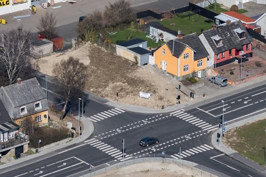 Erhvervsgrund på Ndr.Ringgade i Slagelse - Luftfoto