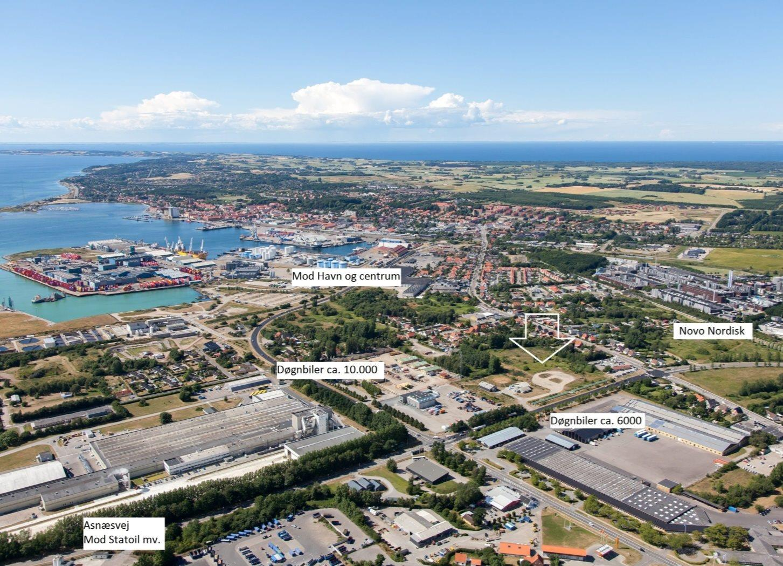 Erhvervsgrund på Asnæsvej i Kalundborg - Luftfoto