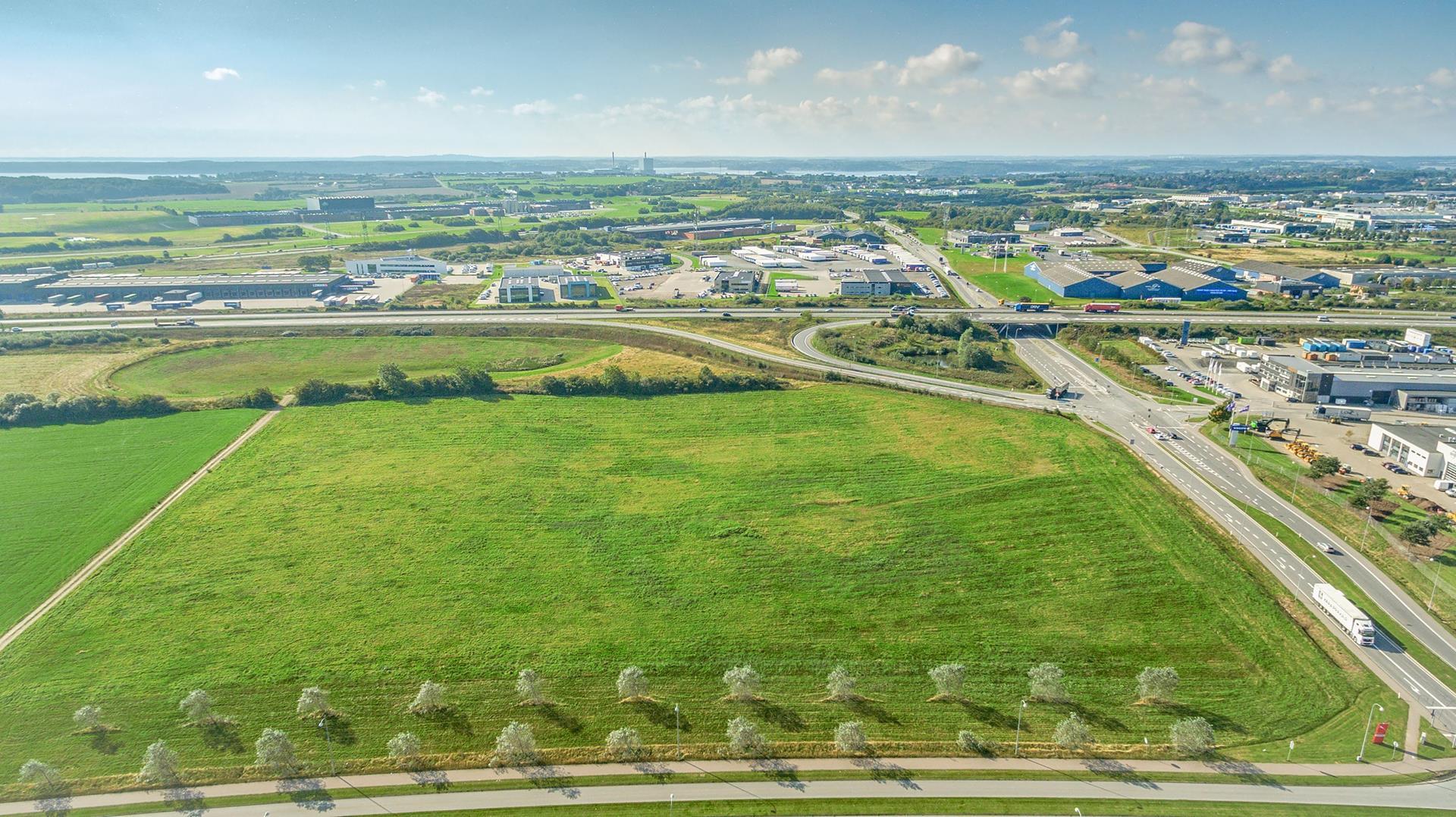 Erhvervsgrund på Kongens Kvarter i Fredericia - Luftfoto