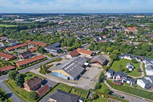Produktion/lager på Erritsø Bygade i Fredericia - Luftfoto