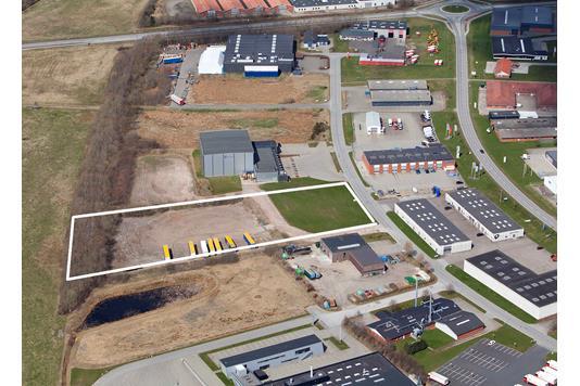 Erhvervsgrund på Hvidelvej i Herning - Luftfoto