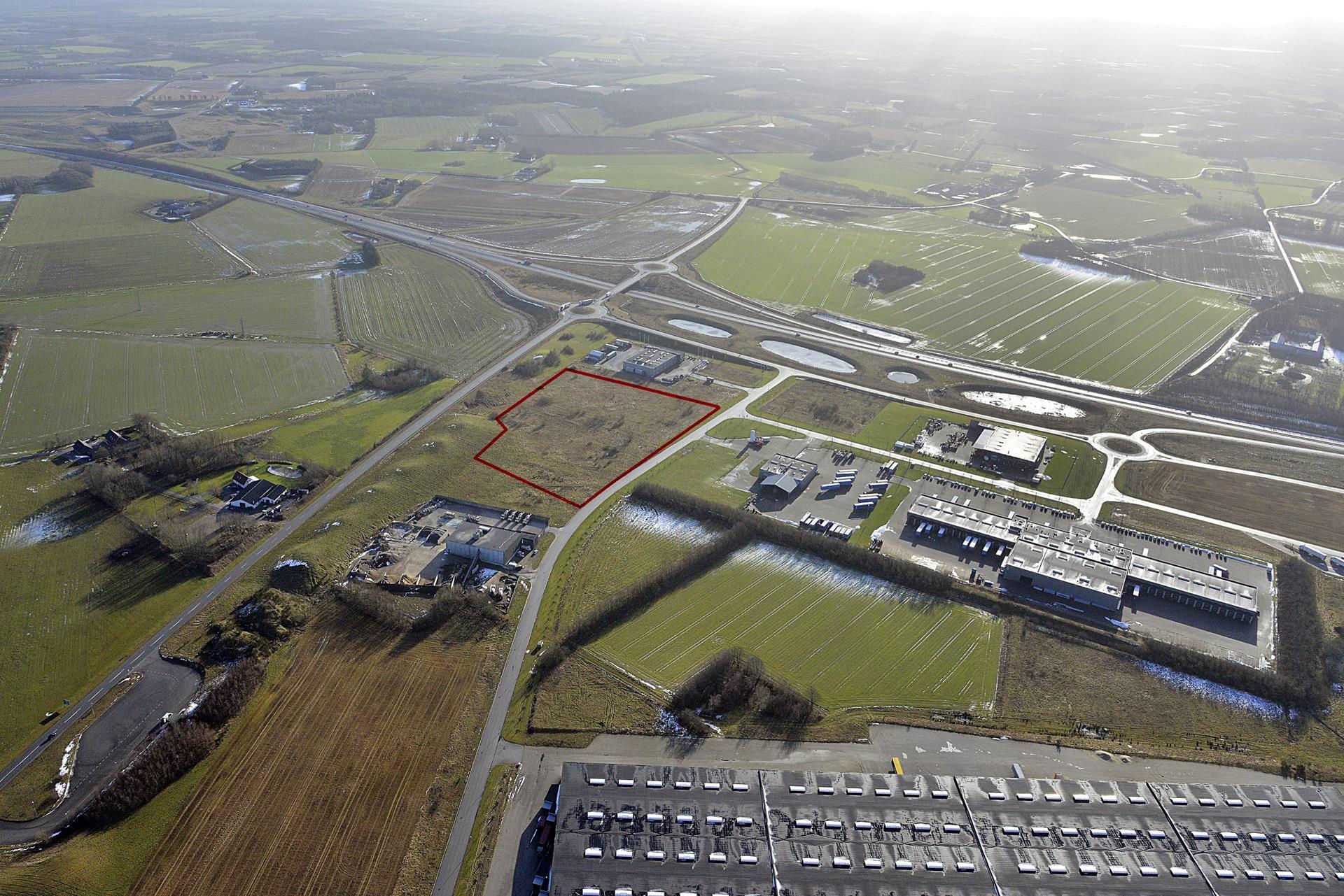 Erhvervsgrund på Transportcentervej i Herning - Luftfoto