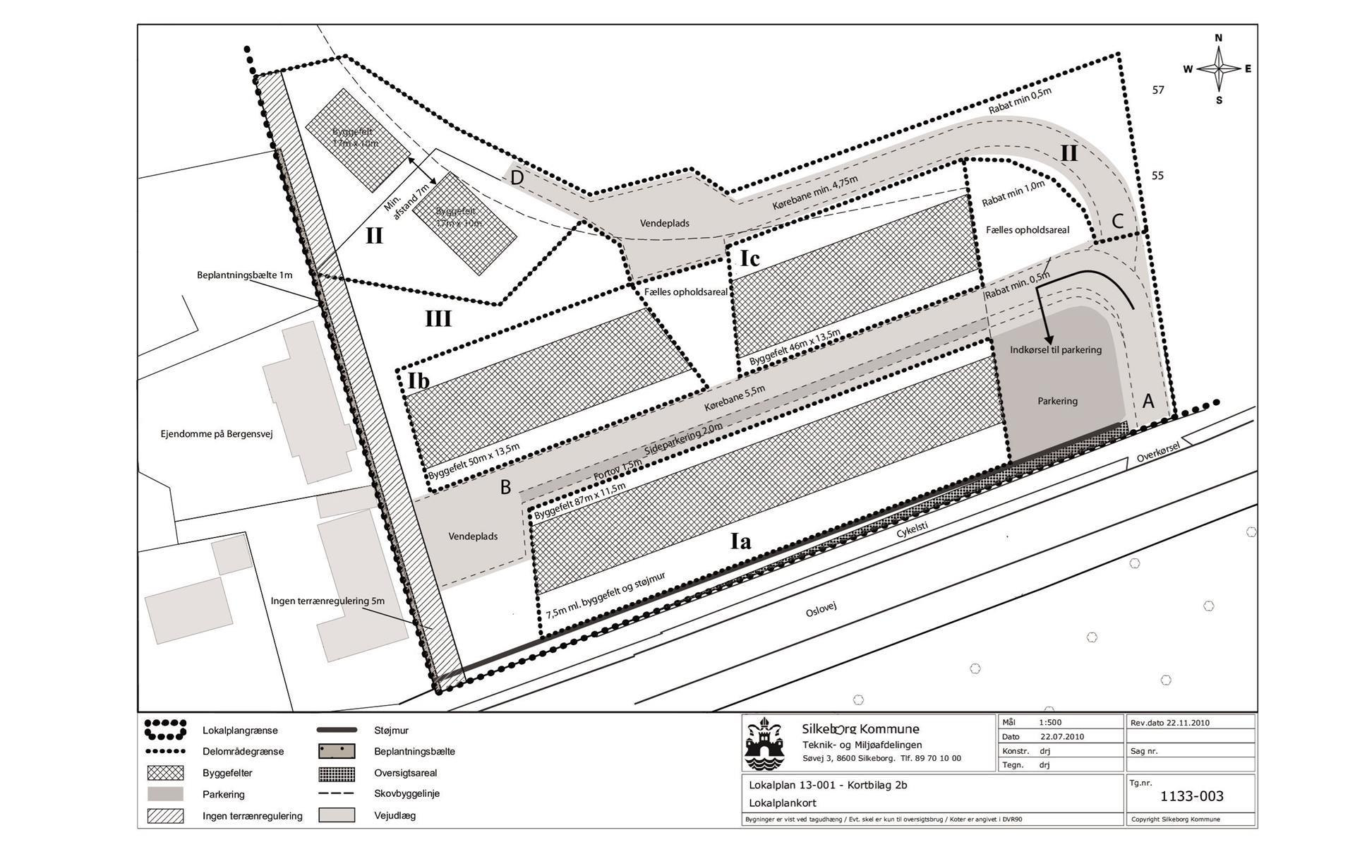 Erhvervsgrund på Oslovej i Silkeborg - Oversigtskort