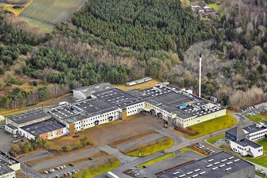 Produktion/lager på Hedelund i Roslev - Luftfoto