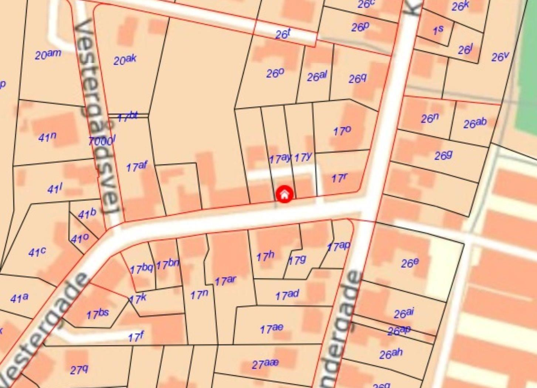 Boligudlejning på Vestergade i Roslev - Kort