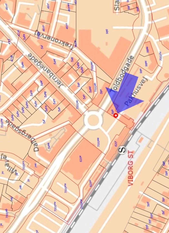 Detail på Banegårdspladsen i Viborg - Kort