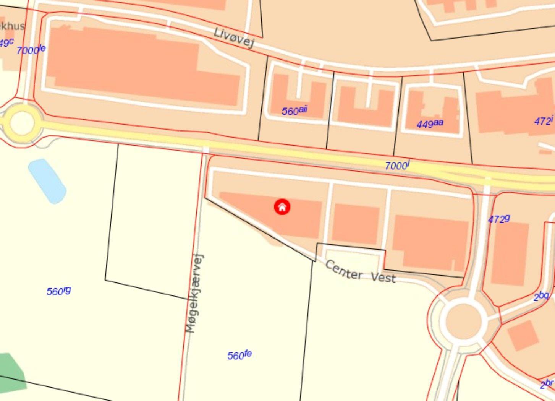 Detail på Center Vest i Viborg - Kort