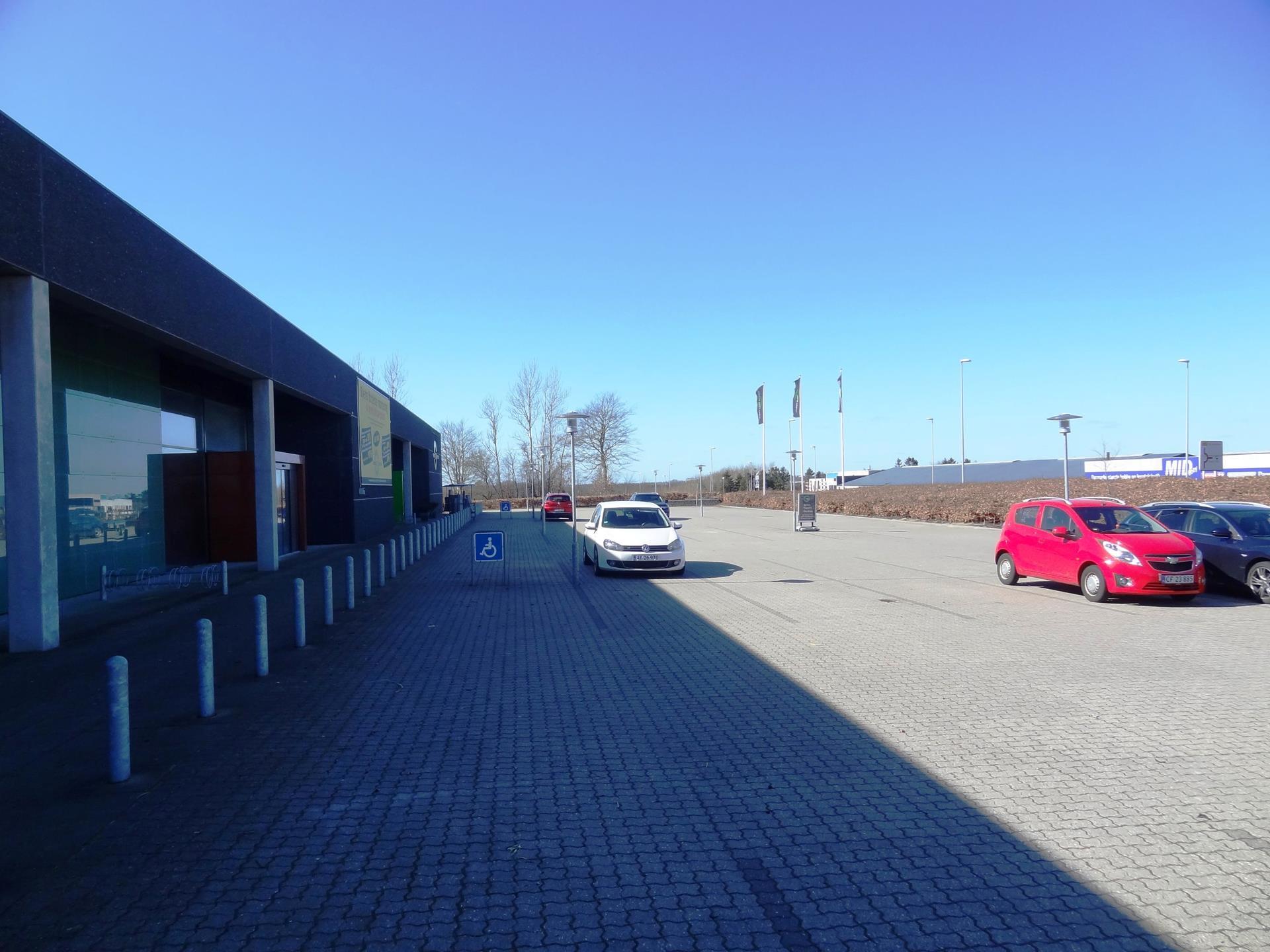 Detail på Center Vest i Viborg - Parkeringsareal