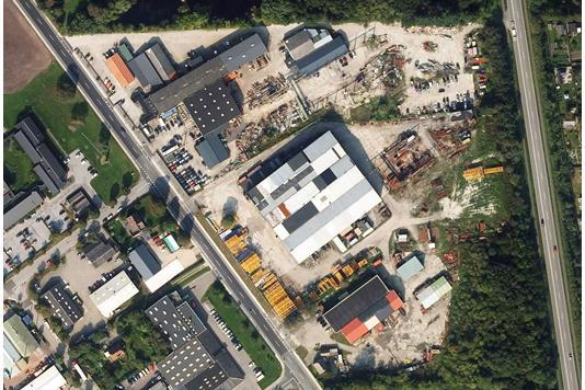 Produktion/lager på Lufthavnsvej i Nørresundby - Luftfoto