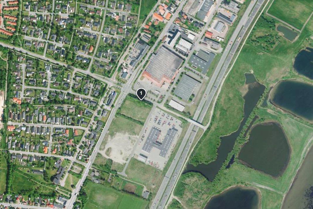 Erhvervsgrund på Østre Fælledvej i Nørresundby - Luftfoto