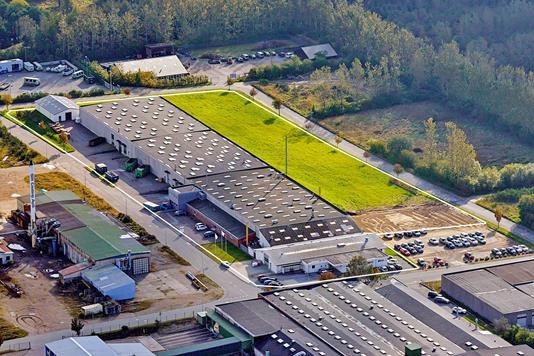 Produktion/lager på Hjulmagervej i Hjallerup - Luftfoto