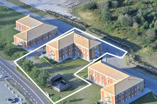 Kontor på Lindholm Havnevej i Nyborg - Luftfoto
