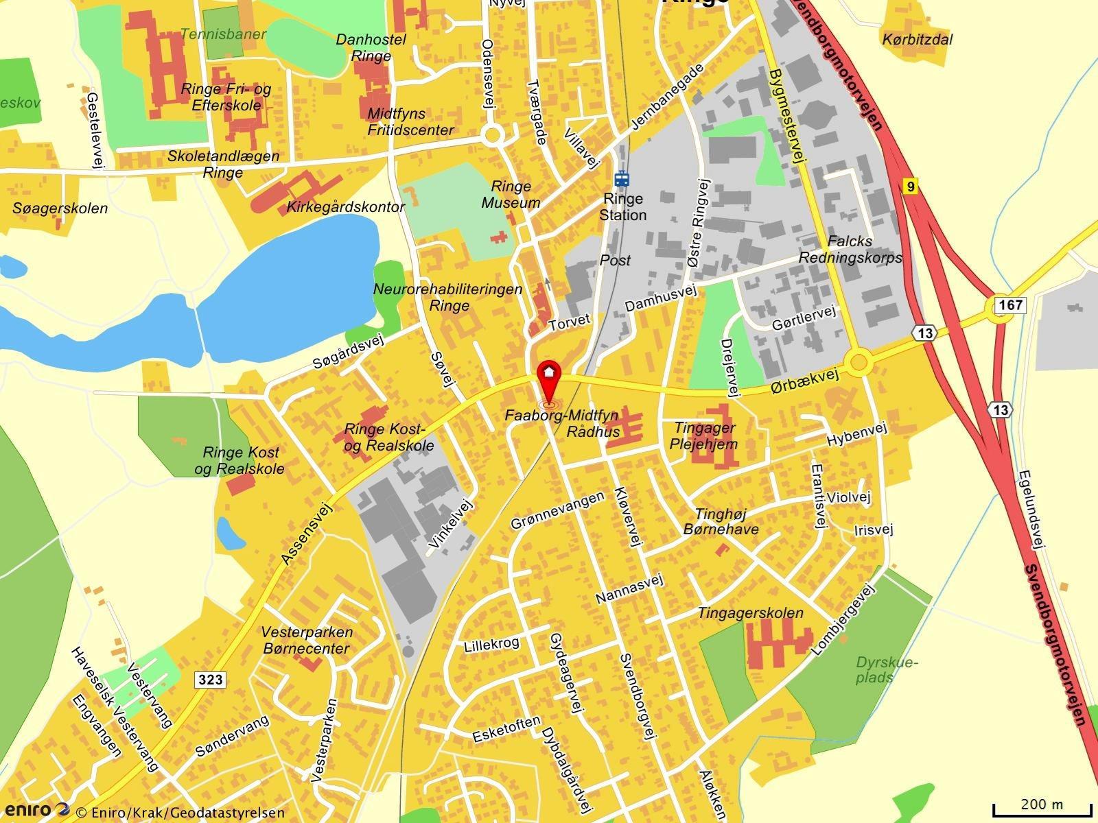 Detail på Algade i Ringe - Kort
