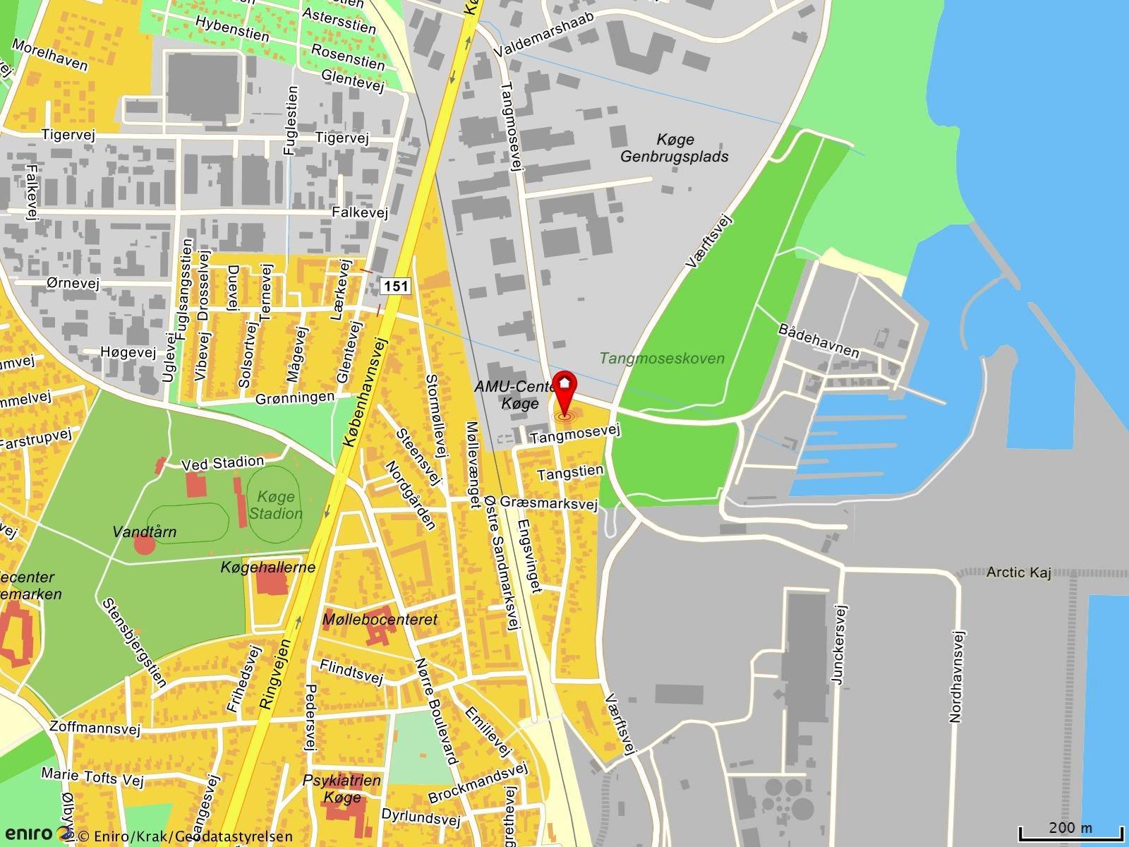 Boligudlejning på Tangmosevej i Køge - Kort